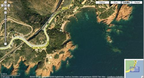 Le Trayas plage naturiste - Vue satellite